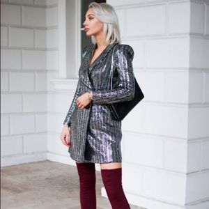 Zara Silver Sequin Metallic Tuxedo Blazer Dress